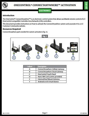OneControl ConnectAnywhere quickstart guide